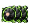 Thermaltake Riing 12 LED GREEN (3-Fan Pack), (CL-F055-PL12GR-A), 120mm, 1000-1500rpm, 24.6dB max, 3Pin
