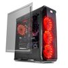 "LC POWER Gaming 988B Red Typhoon, ATX, 2x3.5"", 2x2.5"", 4xFan, Audio/USB3.0, acrylic side panel, transparent front panel"