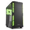 "Sharkoon AI7000 Glass, no PSU, 1x5.25"", 1x3.5"", 2x2.5"", USB3.0, Front 2x140mm fan/ Rear 1x140mm LED fan, ATX Midi Tower, green"